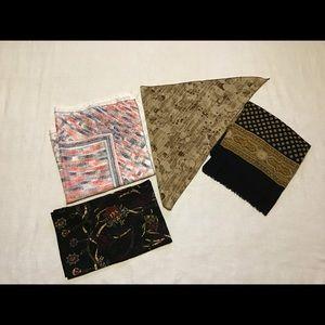 4 piece bundle lot of vintage retro scarves
